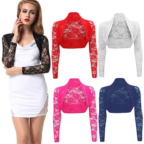 Newest Women's Fashion Sexy Hollow Lace Short Cardigan Coat Cropped Long Sleeve Shrug