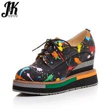 J&K 2017 Big Size 33-42 Colored Women Shoes Genuine Leather Suede Cross Bandage Shoes Woman Wedges Platform Student Footwear