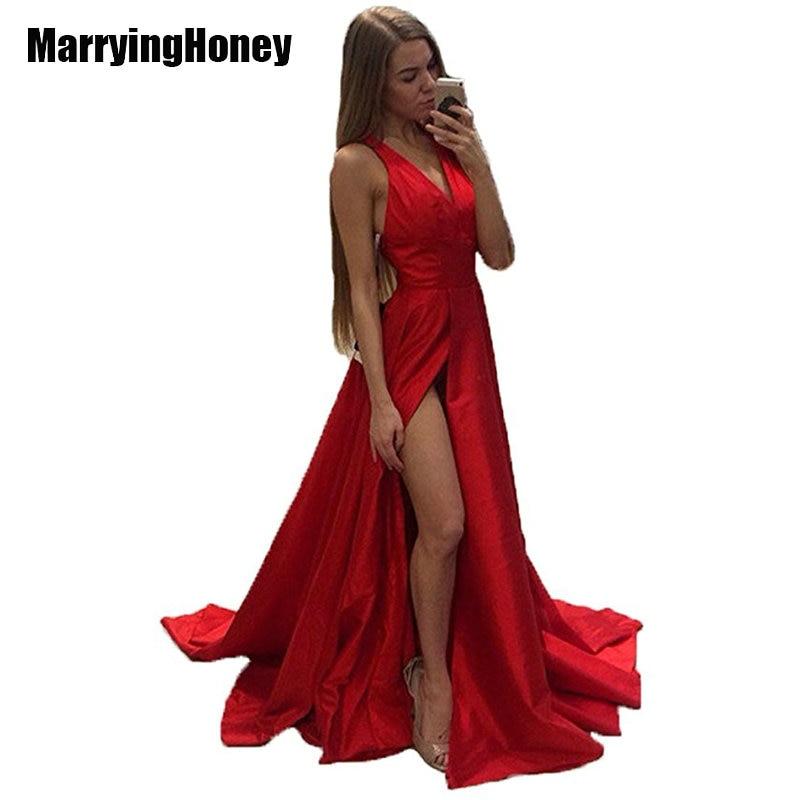 Vestidos De Fieata Sexy High Slit Long Evening Gowns Woman Backless Split Side Prom Dresses robe de soiree 2017 vestido longo