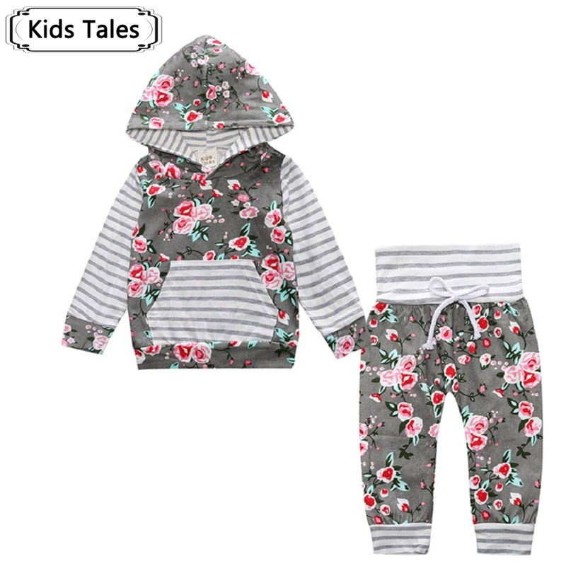 все цены на 2018 Hot baby Autumn new baby boy clothes Children Baby Girls Long Sleeve Hooded Tops Floral pants 2 pcs. clothing set SY188