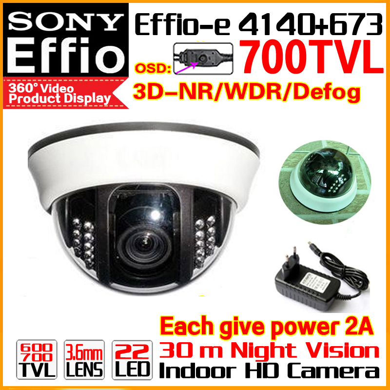 New Style!1/3Sony Sensor CCD Effio 700TVL Indoor dome security surveillance hd ceiling camera system 22led infrared Analog osd