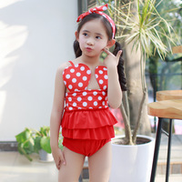 Swimsuit Siamese Swimsuit Mickey Cute Hair With Wave Point Girls Swimsuit Baby Small Medium And