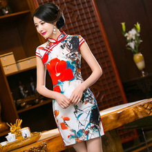 Summer style Top quality chi-pao short sleeve Cheongsam  Mini Evening Dress Party Dress vestidos Tang suit Size:S-3XL