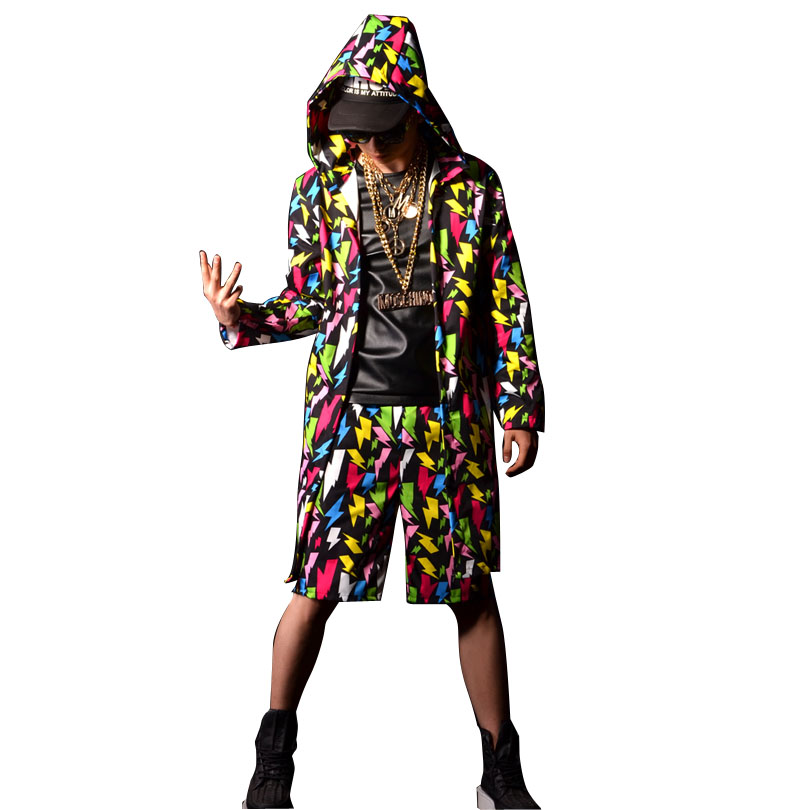 Men Fashion Colors Printing Hip Hop Long Hooded Trench Coat Male Streetwear Casual Cardigan Jacket Stage Costumes-in Trench from Men's Clothing    1