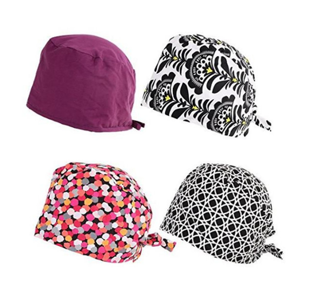 9160df058e09b Promotion 4pcs pack doctor scrub caps men s surgical hats with sweatband  inner for dental clinic workwear cap long hair cotton