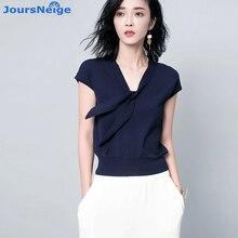JoursNeige Knitted Pullovers Women 2017 New Summer Style V Neck Short Sleeved Stella Filante Jumper Knitwear Thin Sweaters
