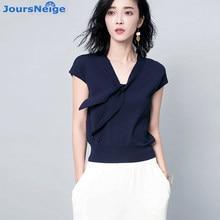JoursNeige Knitted Pullovers Women 2017 New Summer Style V-Neck Short Sleeved Stella Filante Jumper Knitwear Thin Sweaters