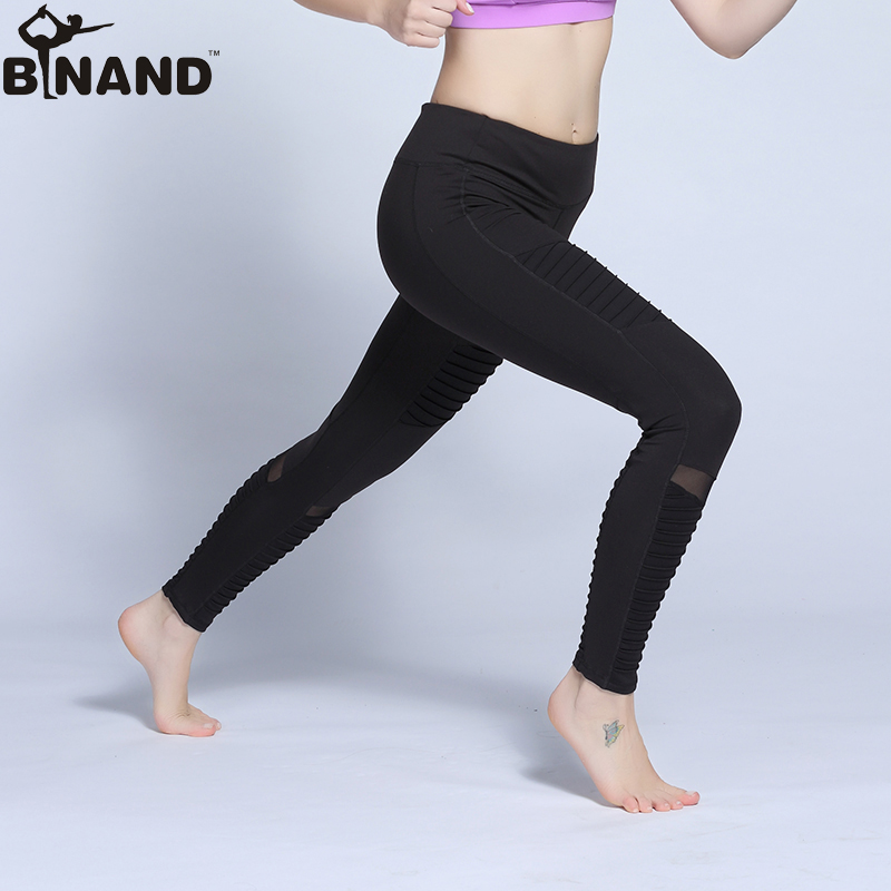 cca56380032f3 BINAND Professional Fabric Yoga Pants Solid Color Mesh Net Yarn Stitching  Tight Sports Legging Quick Dry Training Fitness Pants