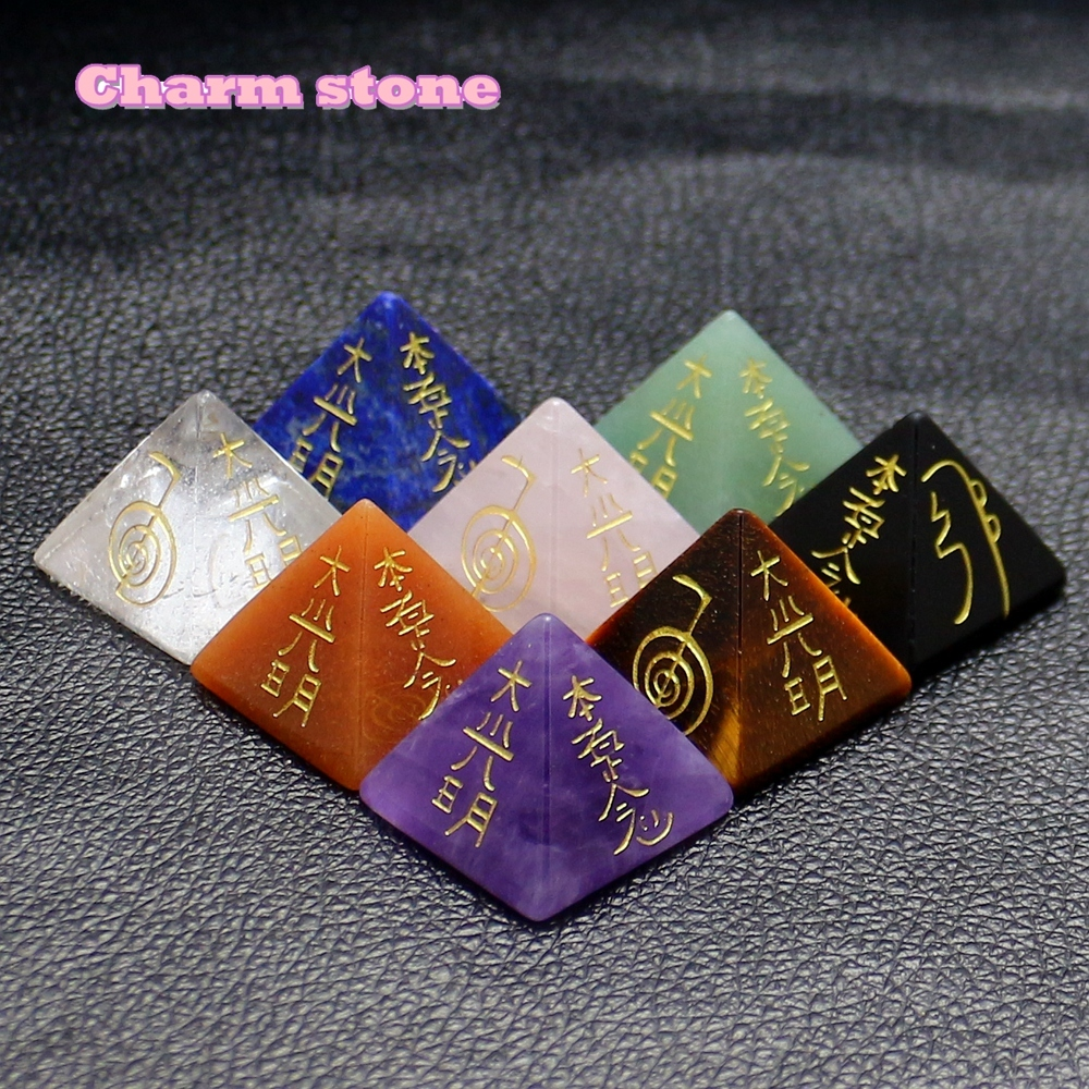2018 Hot Sales Of Natural Crystal Gem Stone Carving Pyramid Energy Aura Chakra northern europe old master cross seven chakra scepter cosmic energy crystal pendant marriage love career fortune official career