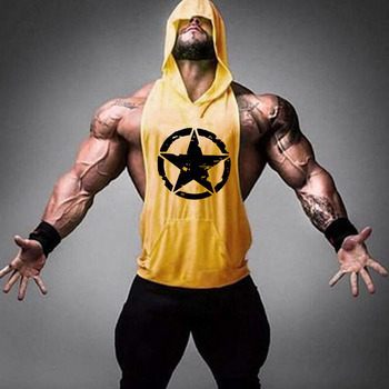Brand Gym Clothing Fitness Men Cotton Tanktop with hooded Mens Bodybuilding Stringers Tank Tops workout Singlet Sleeveless Shirt 12