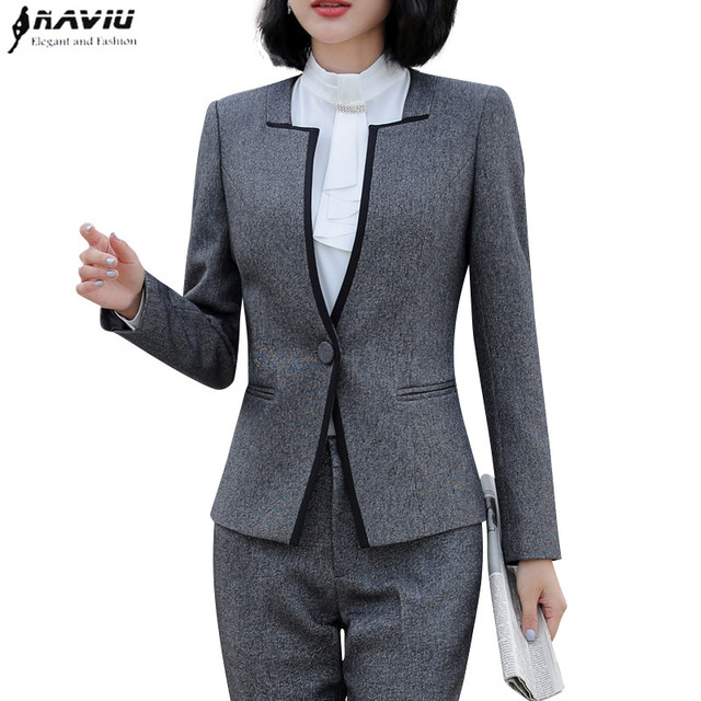 09835a04586 2018 New fashion temperament pant suits OL slim long sleeve blazer and  pants office ladies business Interview work clothing