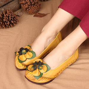 Image 5 - GKTINOO printemps été à la main en cuir véritable Ballet chaussures plates pour les femmes Super doux respirant femmes chaussures plates avec des fleurs