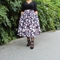 Yuppies Fashion Vintage Floral Flower Printed Skirts 1950s Full Skirt High Waist Pleated Skirt Plus Size faldas saia jupe