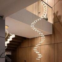 Люстра современный минималистский дуплекс пол зал моды Атмосфера Nordic гостиная лампа вилла винтовая лестница длинные висит
