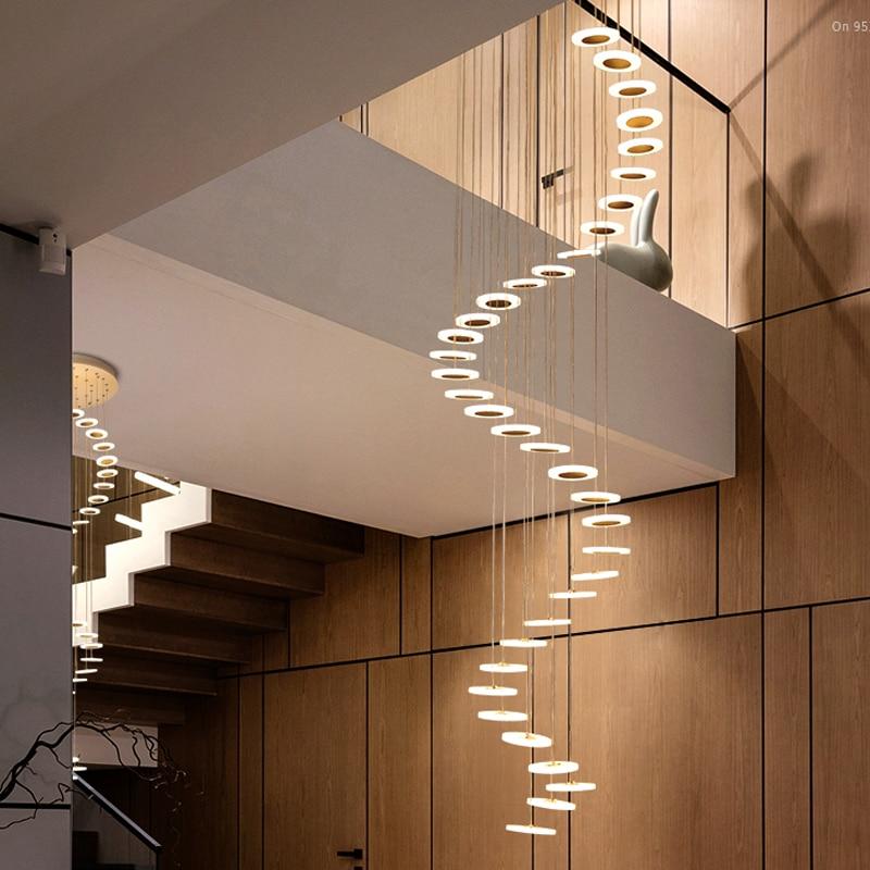 Chandelier Modern minimalist duplex floor hall fashion atmosphere Nordic living room lamp villa spiral staircase long hanging