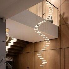 Современная люстра в минималистическом стиле дуплекс пол зал мода атмосфера Nordic гостиная лампа вилла винтовая лестница длинные висячие