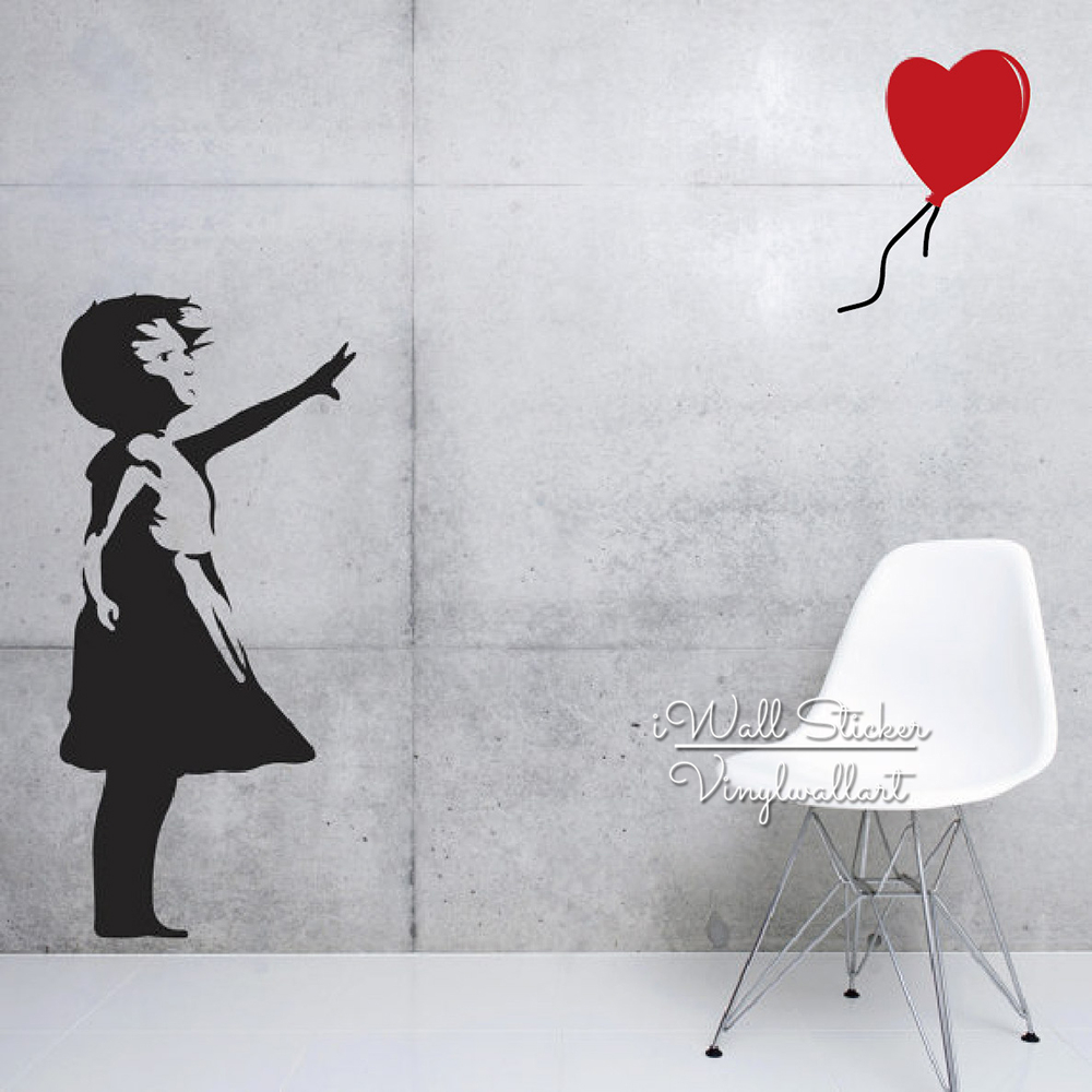 Girl balloon wall sticker red balloon girl wall decal diy modern wall decor cut vinyl stickers b2 in wall stickers from home garden on aliexpress com