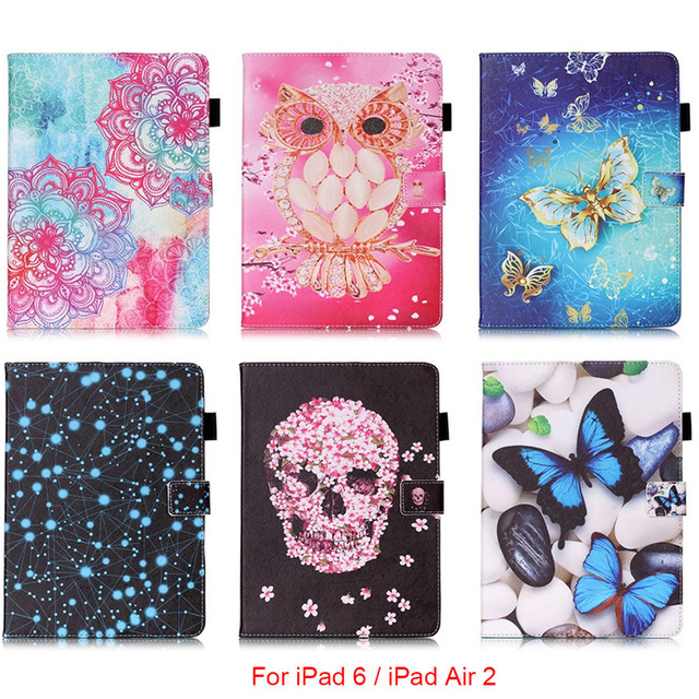 For Apple iPad 6 iPad6 Case Mandala Butterfly Skull Flower Pattern Tablet Back Cover with Stylus holder For iPad Air 2 9.7''