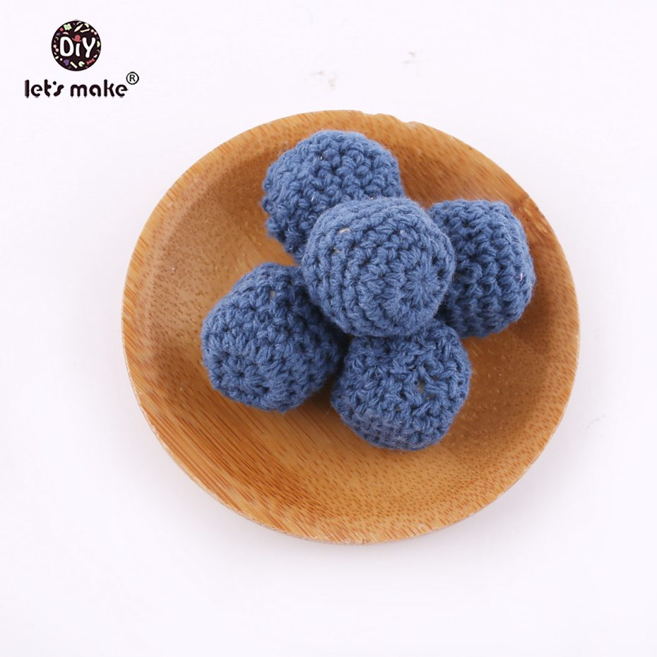 Lets make Deep Blue Crochet Beads Knitted By Cotton Thread DIY Jewellery 10pcs 18mm Hex/Geometric Beads Baby Wooden Teether