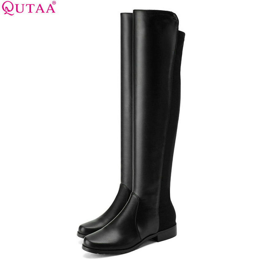 QUTAA 2019 Women Shoes Platform Knee High Boots All Match Low Heel Pu+lycra Black Sexy Fashion Solid Women Boots Size 34-43 20mm 10pcs high quality bright silver plated copper material hairpin hair clips hairpin base setting cabochon cameo j5 30