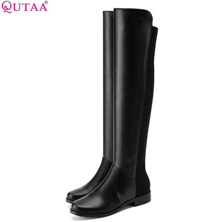 QUTAA 2019 femmes chaussures plate-forme genou bottes hautes tout Match talon bas Pu + lycra noir Sexy mode solide femmes bottes taille 34-43