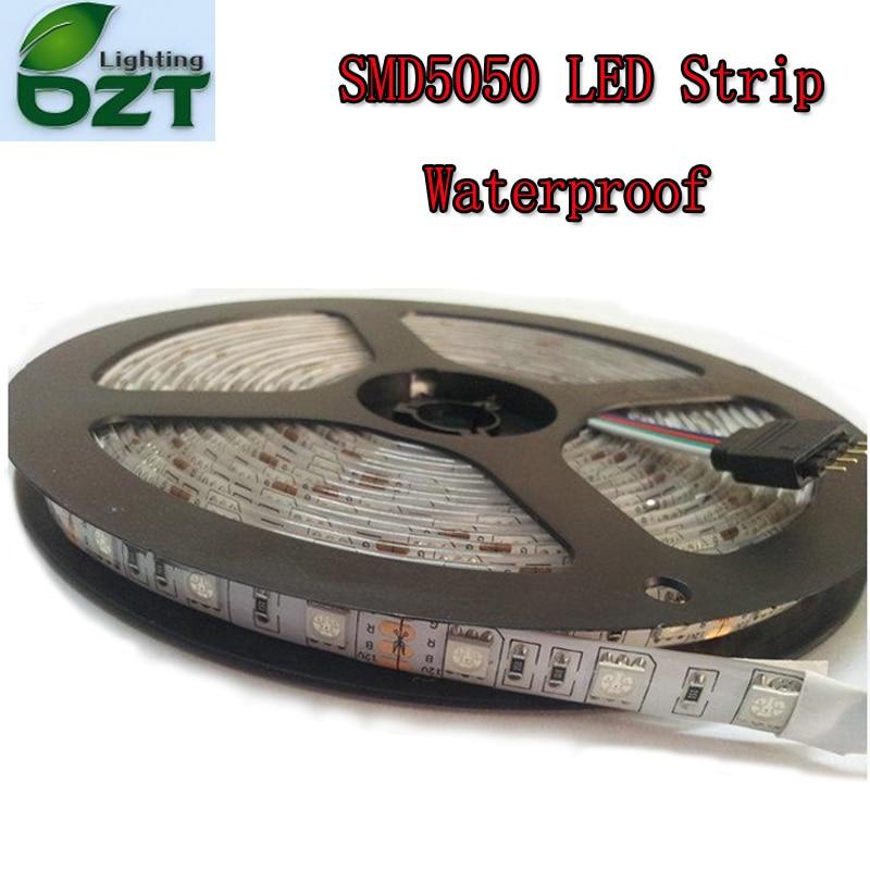 5m 300 LED SMD5050 Vanntett 12V fleksibelt lys 60 led / m, 6 farger LED stripe hvit / varm hvit / blå / grønn / rød / gul