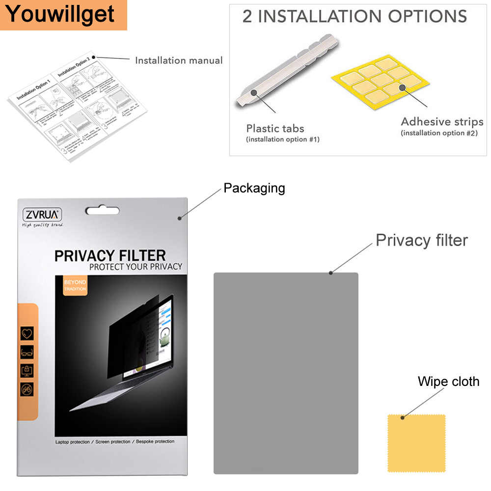 (299 Mm * 195 Mm) privacy Filter Anti Spy Pet Layar Film Pelindung untuk 2018 2019 New Macbook Air 13.3 Inci dengan Touch ID