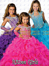 2016 neue Ankunft Luxus königlichen Rüschen Ballkleid mit Hülse Freies Verschiffen Mädchen Pageant Kleider Little Girls Prom Kleid HYD120