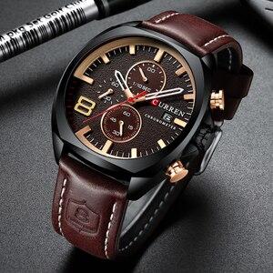 Image 2 - Męskie zegarki Top marka CURREN luksusowy skórzany pasek Sport kwarcowy z chronografem zegarek wojskowy mężczyźni zegar wodoodporny Relogio Masculino