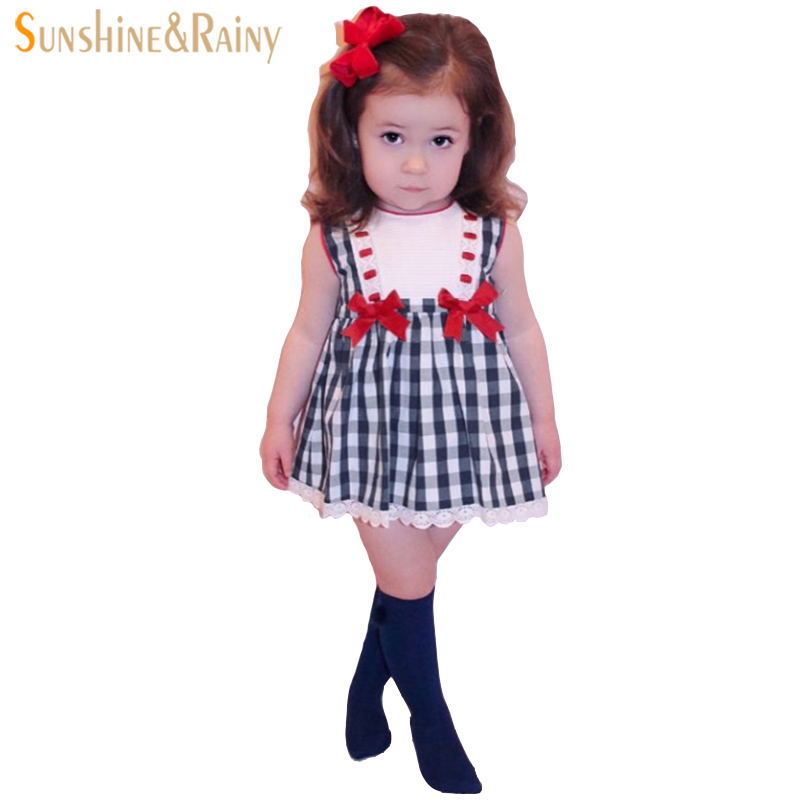 Cute Girls Dress With Lace Cotton Plaid Bow Vest Dress + Shorts Brand High Quality Princess Dress For Baby Summer Dresses White 2016 summer europe fashionable girls cute girls short bow wave shorts cotton suit birthday gift for girls