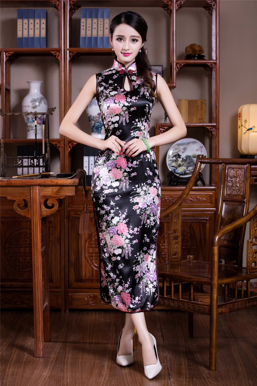 44d3a014bb77 Shanghai Story Faux di Seta cinese tradizionale lunghi abiti senza ...