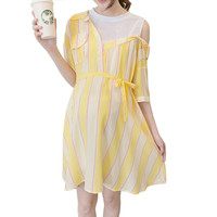 Off Shoulder Striped Soft Cotton Maternity Dress Turn doen Collar Sweet Girl Fake Two piecs Dresses Clothes For Pregnant Woman