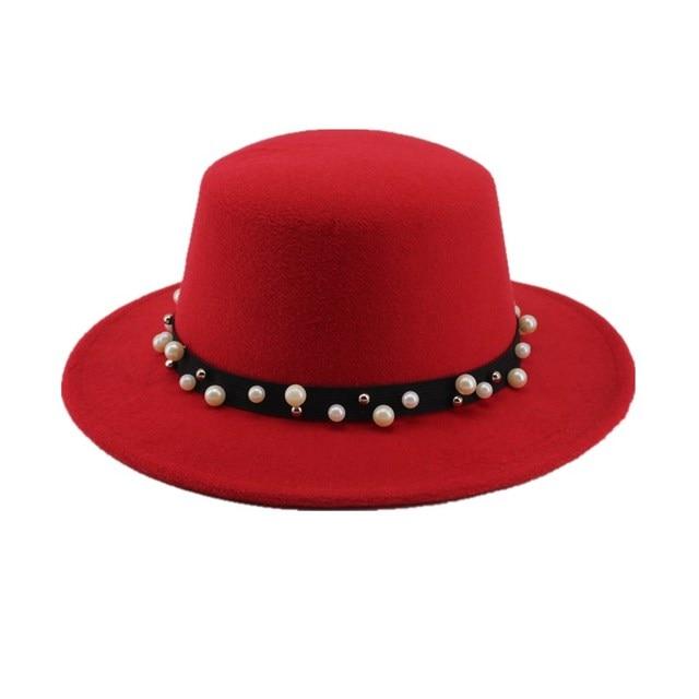 Seioum Black Wool Wide Brim Bowler Trilby Fedora Hat for Women Plain Flat  Lady Felt Hats 9a8315f7549a
