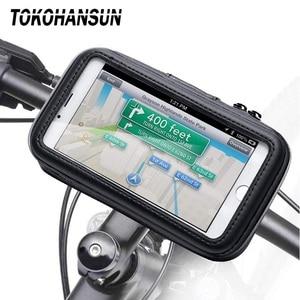 Image 1 - دراجة نارية حامل هاتف لسامسونج غالاكسي S8 S9 S10 آيفون X 8 زائد دعم حامل الدراجة المحمول حامل مقاوم للماء لحقيبة موتو