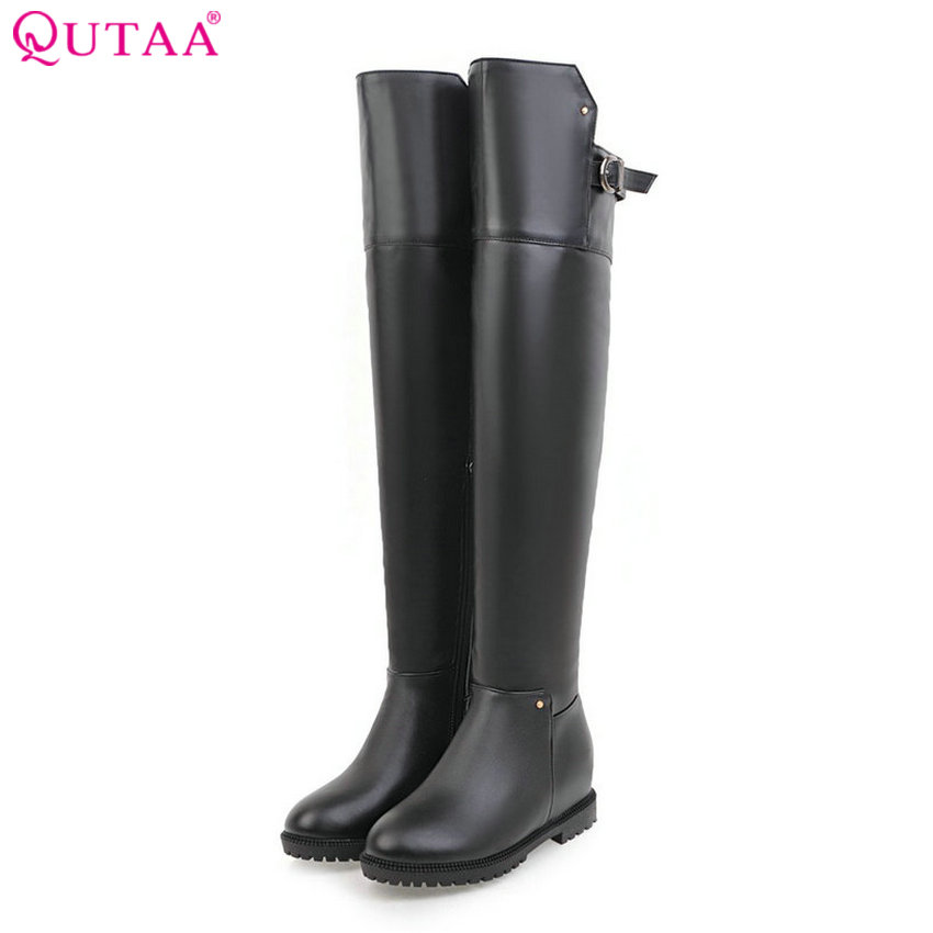 QUTAA 2018 Women Over The Knee High Boots Pu Leather Zipper and Buckle Design Westrn Style Women Motorcycle Boots Size 34-40