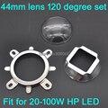 1 Conjunto de 44mm Lente De Vidro LEVOU 120 Ângulo de Feixe Grau + 50mm Refletor colimador + Suporte Fixo para 20 W 30 W 50 W 100 W LED de Alta Potência