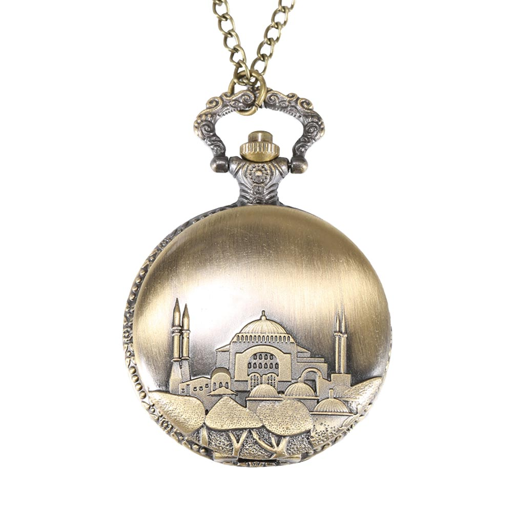 Retro Famous Building Quartz Pocket Watch Necklace Pendant Watches Women Men Chain Clock Gifts LL@17 2017 retro freemason pocket watch sets with free masonic necklace pendant quartz fob watches chain best gifts set for men women