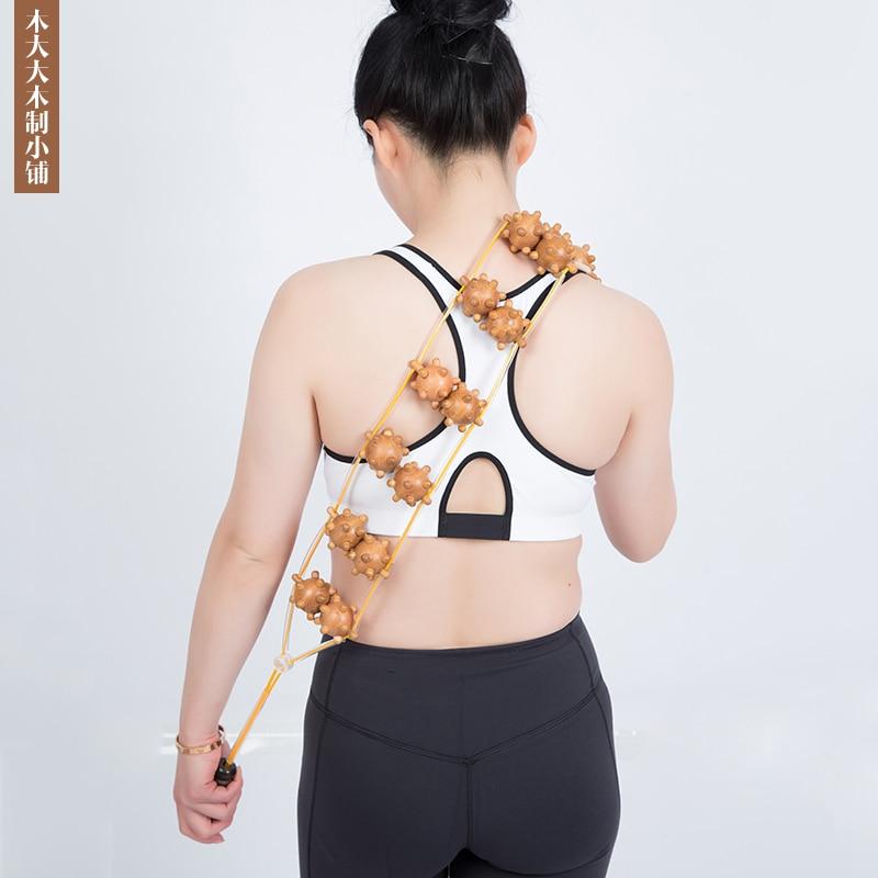 1PCS Beige Wooden Wheel Body Back Waist Care Roller Massager Lumbar Spine Back Shoulder Health Care Tool