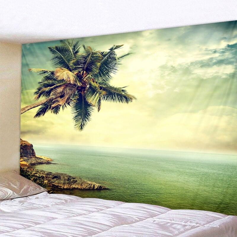 Tenture plage et océan 6 Tapisserie murale avec motif arbre vert ensoleill d coration murale style boh me style Hippie bon