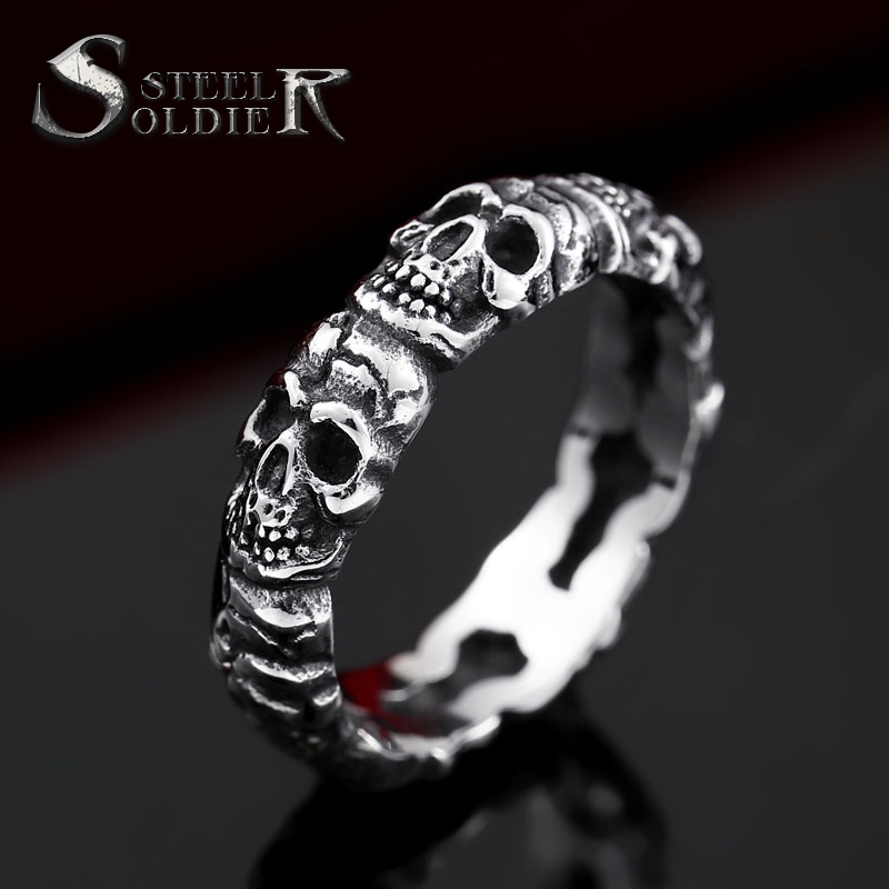 steel soldier unique Store steel soldier stainless steel punk cycle skull ring for men personality popular for aliexpress jewelry