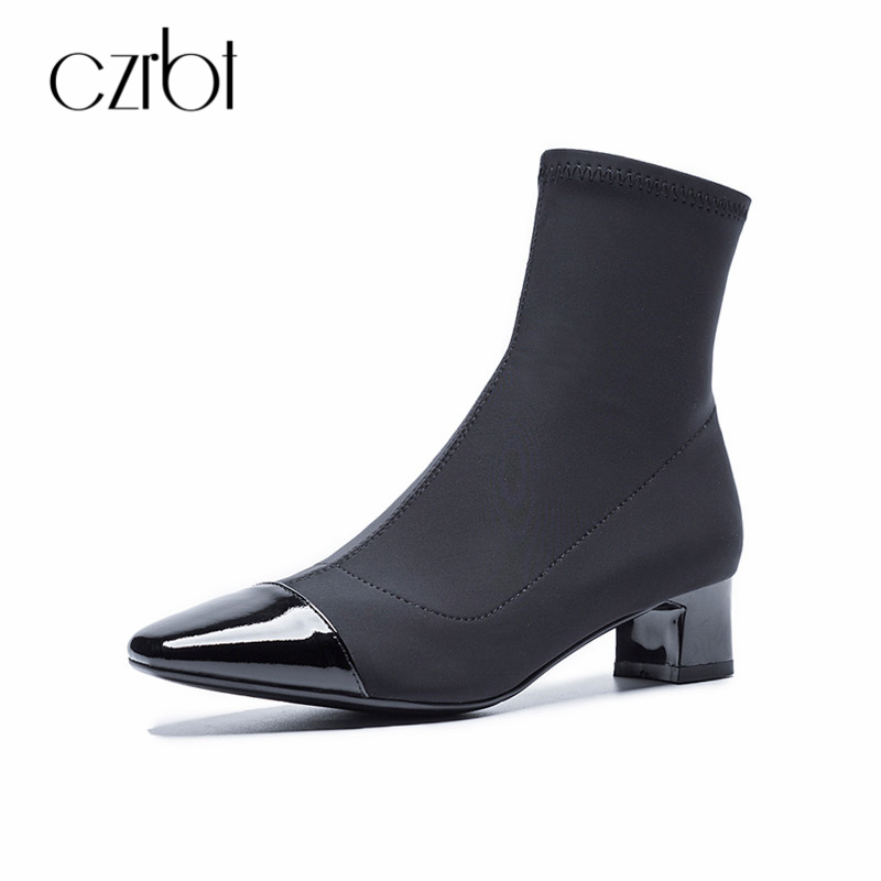 CZRBT 2018 Summer Fashion Genuine Leather Women Boot High Heels 4cm Comfortable Square Toe Stretch Fabric Casual Ladies Shoes