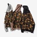 Primavera Camouflage O-pescoço Camisola dos homens Novos da Chegada 2017 Fashion Faux duas Peças Hoodies Com Um Capuz Casual Hoodies Hip Hop homens