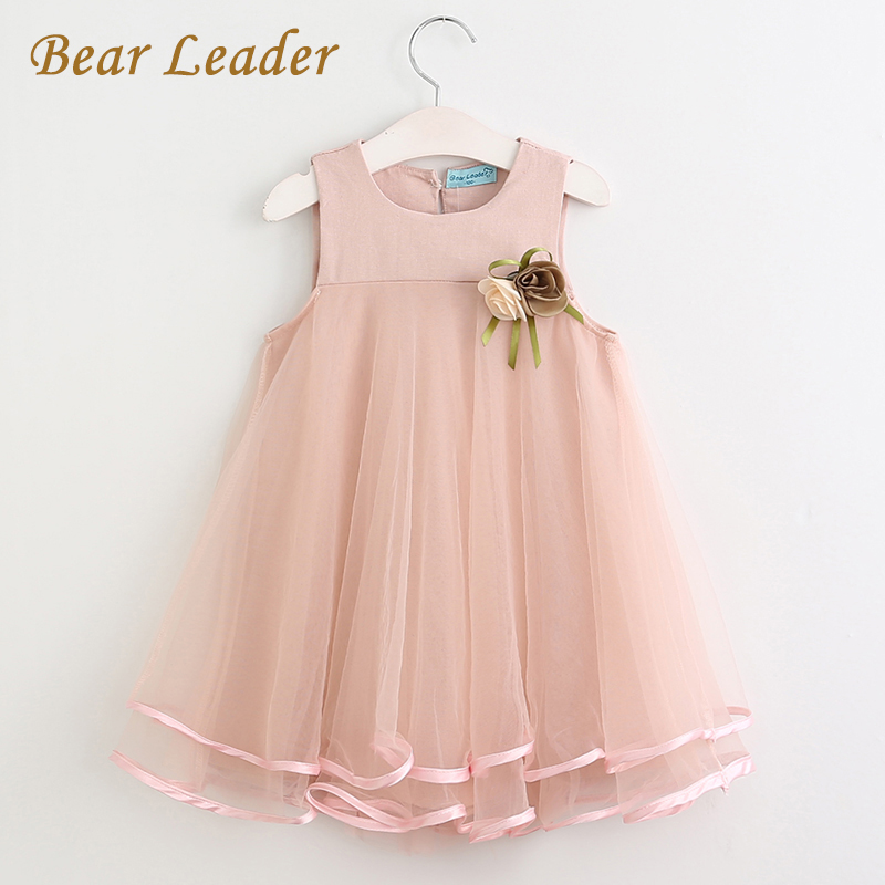 Bear Leader Girls Dress 2017 Brand Princess Dress Sleeveless Appliques Floral Design for Girls Clothes Party Dress 3-7Y Clothes bear leader girls dress 2016 brand princess dress kids clothes sleeveless red rose print design for grils more style clothes