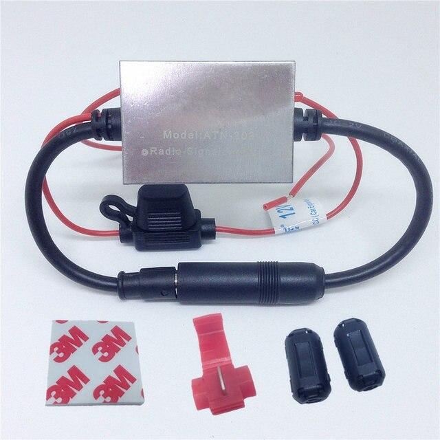 FM Signal Amplifier Anti-interference Metal Car Antenna Radio Universal Auto FM Booster Amp 88-108 Mhz 12V