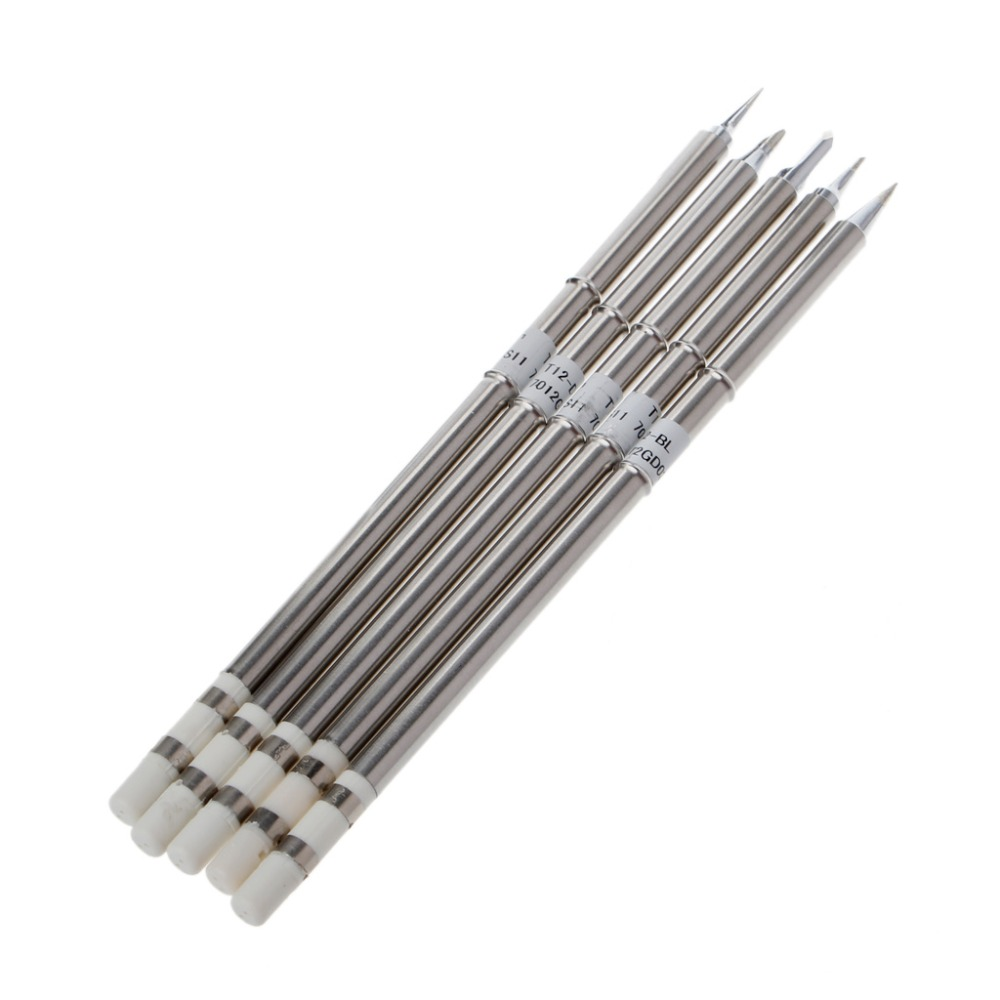 5 Pcs T12 Series Solder Iron Tips For Hakko FX951 BAKON 950D Soldering Station Welding Tips