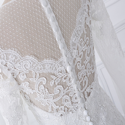 wuzhiyi vestido de noiva Boat neck wedding dresses lace applique wedding gown Zipper back buttons marriage Gown robe de soiree 3