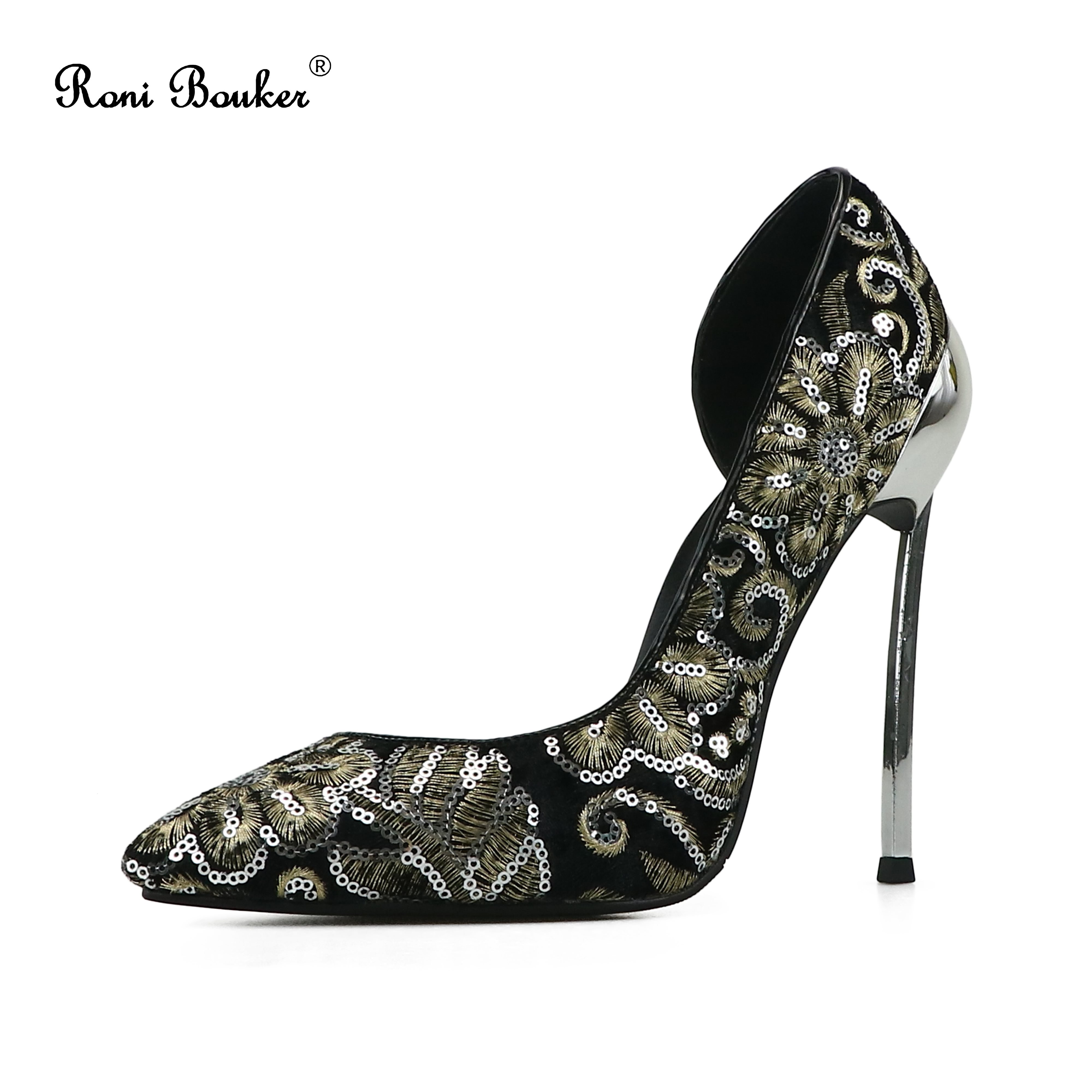 Roni Bouker Women Pumps Fashion Pointed Toe Party Wedding Stilettos Heel Woman Elegant Embroidery Design High Heels Ladies ShoesRoni Bouker Women Pumps Fashion Pointed Toe Party Wedding Stilettos Heel Woman Elegant Embroidery Design High Heels Ladies Shoes