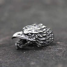 Viking Mens Silver Color Stainless Steel Raven Rings Norse Animal Eagle Ring Biker Jewelry