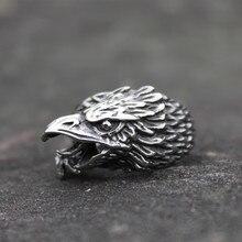 Bague Viking en acier inoxydable pour hommes, bijoux de motard, couleur argent, corbeau, Animal nordique, aigle