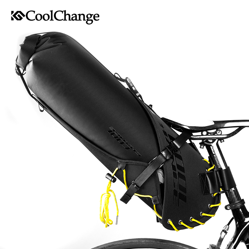 CoolChange Bicycle Saddle Bag Waterproof Cycling Foldable Tail Rear Seat Bag MTB Trunk Pannier Backpack Bike Bag Accessories 20L roswheel 20l multifunctional waterproof bicycle bag black pvc cycling trunk rear tail pack bag riding bike bicycle storage bag
